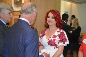 Carrie Grant with the Prince of Wales.